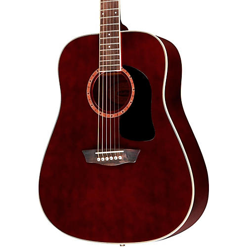 Washburn WD100DL Dreadnought Mahogany Acoustic Guitar Transparent Wine Red