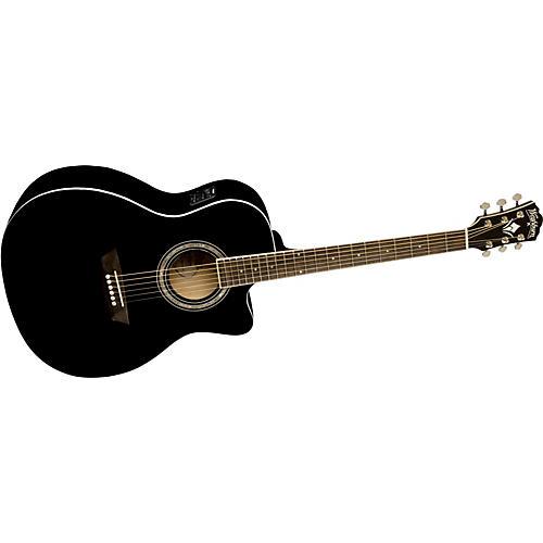 Washburn WG 5SCE Black Knight Series Grand Auditorium Cutaway Acoustic-Electric Guitar