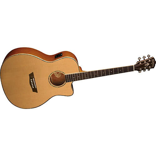 Washburn WG15SCE Solid Sitka Spruce Top Acoustic Cutaway Electric Grand Auditorium Mahogany Guitar with Fishman Preamp And Tuner