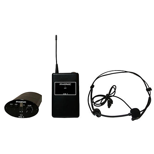 Phonic WH-1S Wireless Headset System (Receiver + Bodypack + Headset)