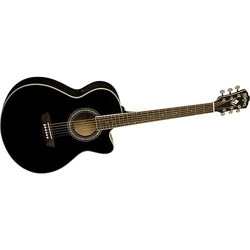 Washburn WMJ 5SCEB Black Knight Series Mini Jumbo Cutaway Acoustic-Electric Guitar