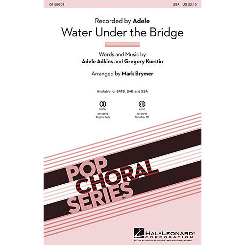Hal Leonard Water Under the Bridge SSA by Adele arranged by Mark Brymer