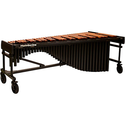 "Marimba One Wave #9614 A442 5.0 Octave Marimba with Traditional Keyboard and Basso Bravo Resonators 8""casters and Accessory Bar"
