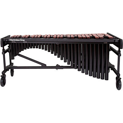 "Marimba One Wave #9631 A440 4.3 Octave Marimba with Traditional Keyboard and Classic Resonators 8"" casters and accessory bar"