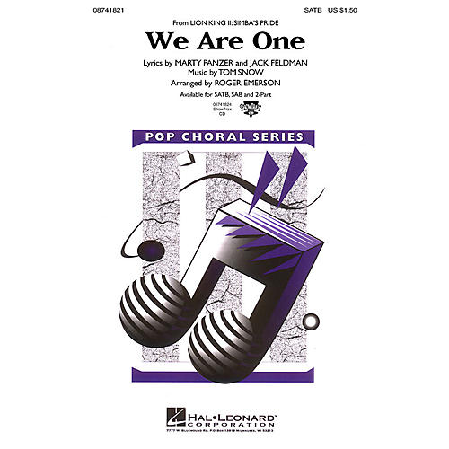 Hal Leonard We Are One (from The Lion King II: Simba's Pride) 2-Part Arranged by Roger Emerson