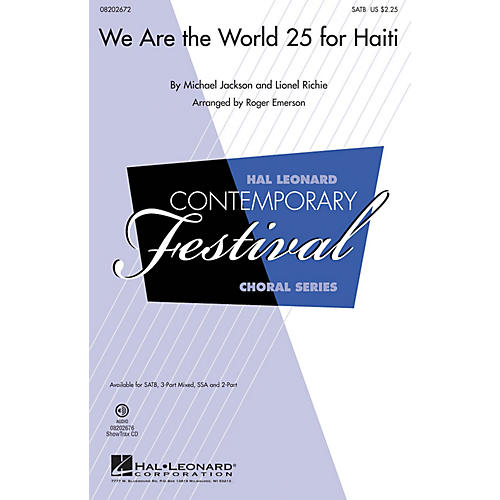 Hal Leonard We Are the World 25 for Haiti 3-Part Mixed Arranged by Roger Emerson