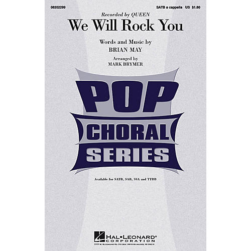 Hal Leonard We Will Rock You TTBB A Cappella by Queen Arranged by Mark Brymer