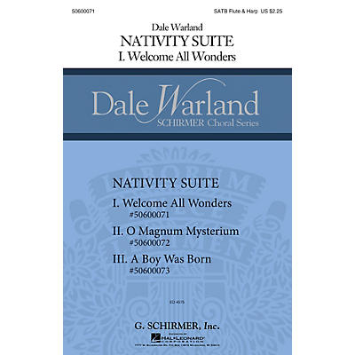 G. Schirmer Welcome All Wonders (Dale Warland Choral Series) SATB with flute & harp composed by Dale Warland