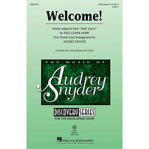 Hal Leonard Welcome! (Discovery Level 1) 3-Part Mixed arranged by Audrey Snyder