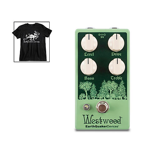 EarthQuaker Devices Westwood Overdrive Effects Pedal and Octoskull T-Shirt Large Black