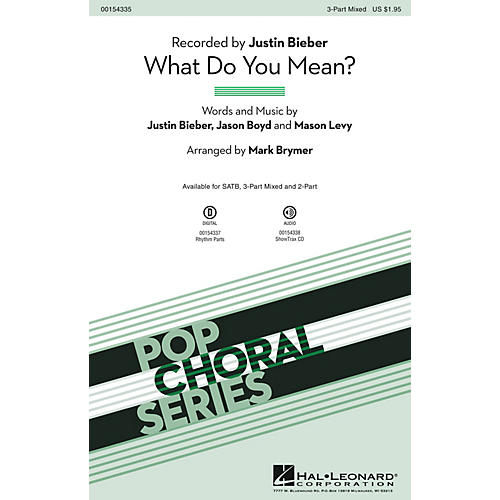 Hal Leonard What Do You Mean? 3-Part Mixed arranged by Mark Brymer