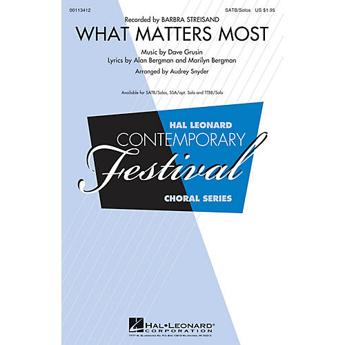 Hal Leonard What Matters Most (SATB/Soli) SATB and Soli by Barbra Streisand arranged by Audrey Snyder