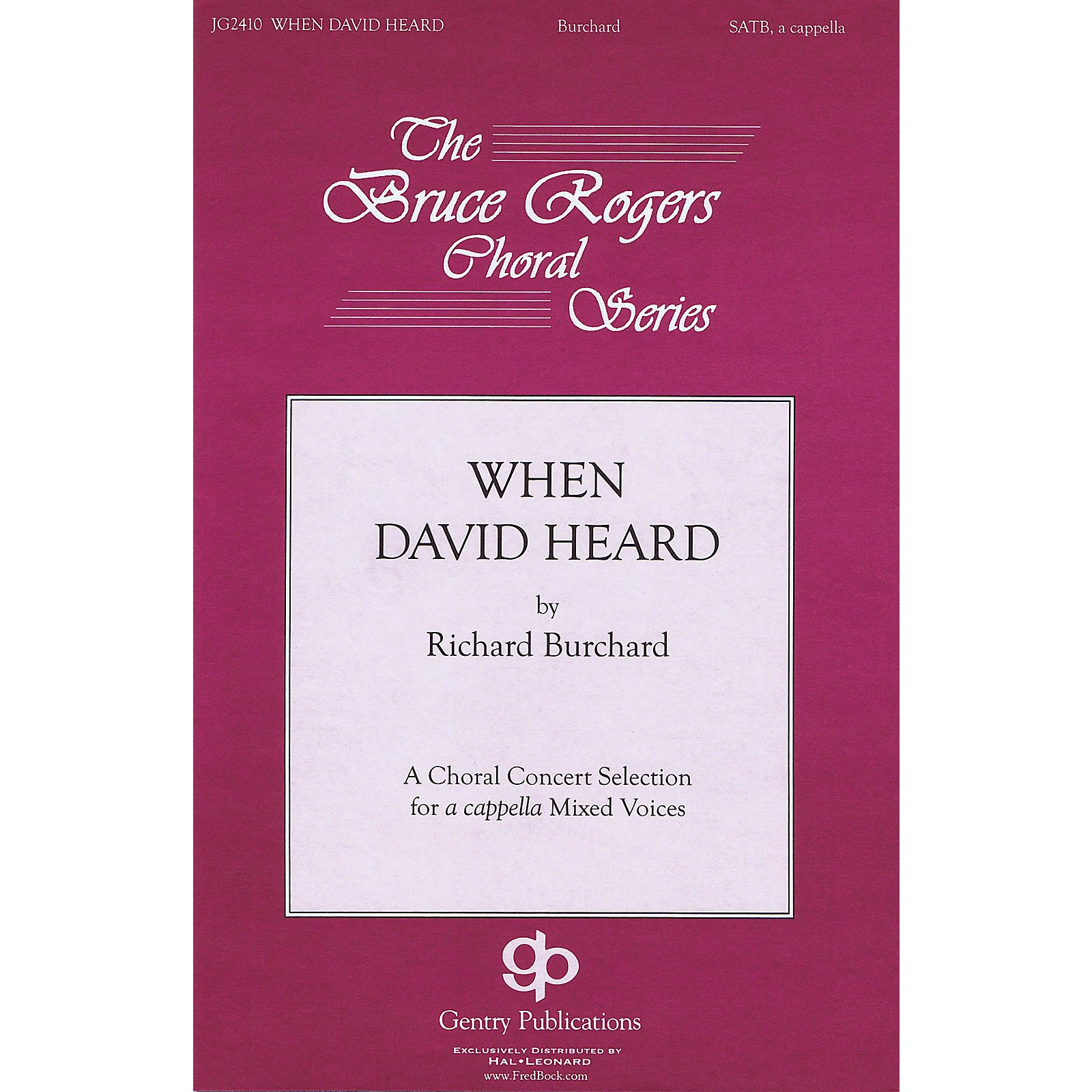 Gentry Publications When David Heard TTBB Div A Cappella Composed by Richard Burchard