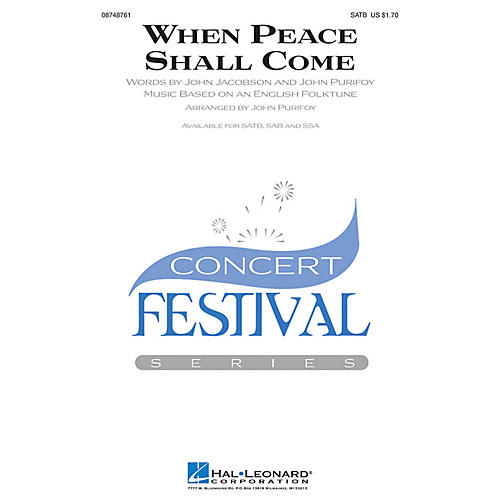 Hal Leonard When Peace Shall Come SATB arranged by John Purifoy