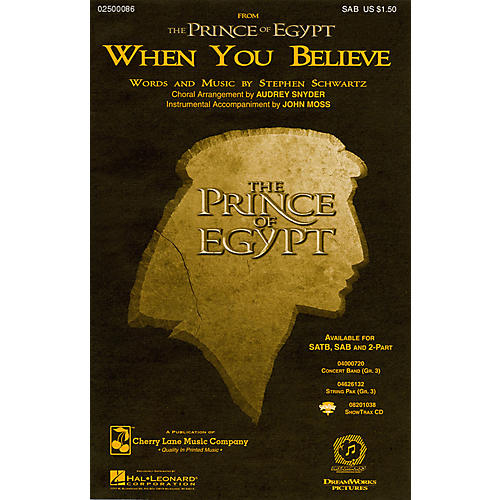 Cherry Lane When You Believe (from The Prince of Egypt) SAB arranged by Audrey Snyder