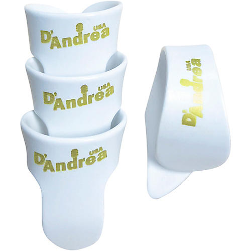 D'Andrea White T&F Pack - 1 Thumb & 3 Finger Picks Large