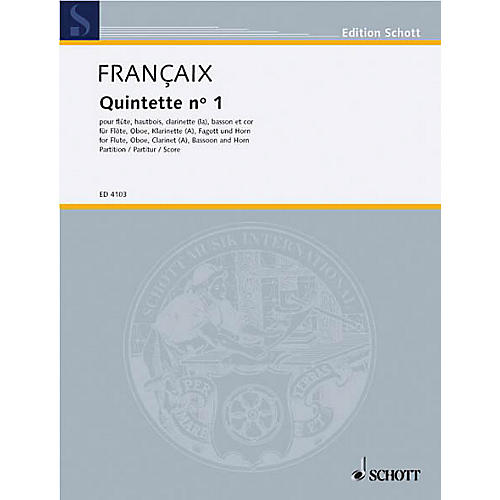 Schott Wind Quintet (Study Score) Schott Series Composed by Jean Françaix