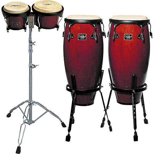 Schalloch Wine Red Conga/Bongo Set with Stands
