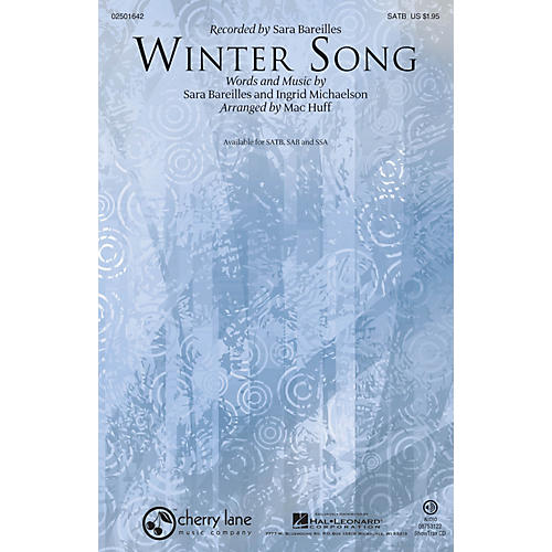 Hal Leonard Winter Song SATB by Sara Bareilles arranged by Mac Huff