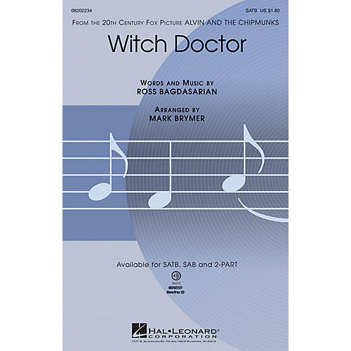 Hal Leonard Witch Doctor (from Alvin and the Chipmunks) 2-Part Arranged by Mark Brymer