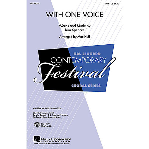 Hal Leonard With One Voice SAB Arranged by Mac Huff