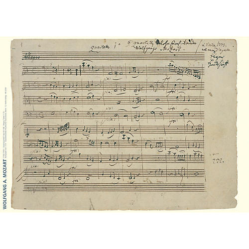 Hal Leonard Wolfgang Amadeus Mozart Music Manuscript Poster Henle Music Folios Series by Wolfgang Amadeus Mozart