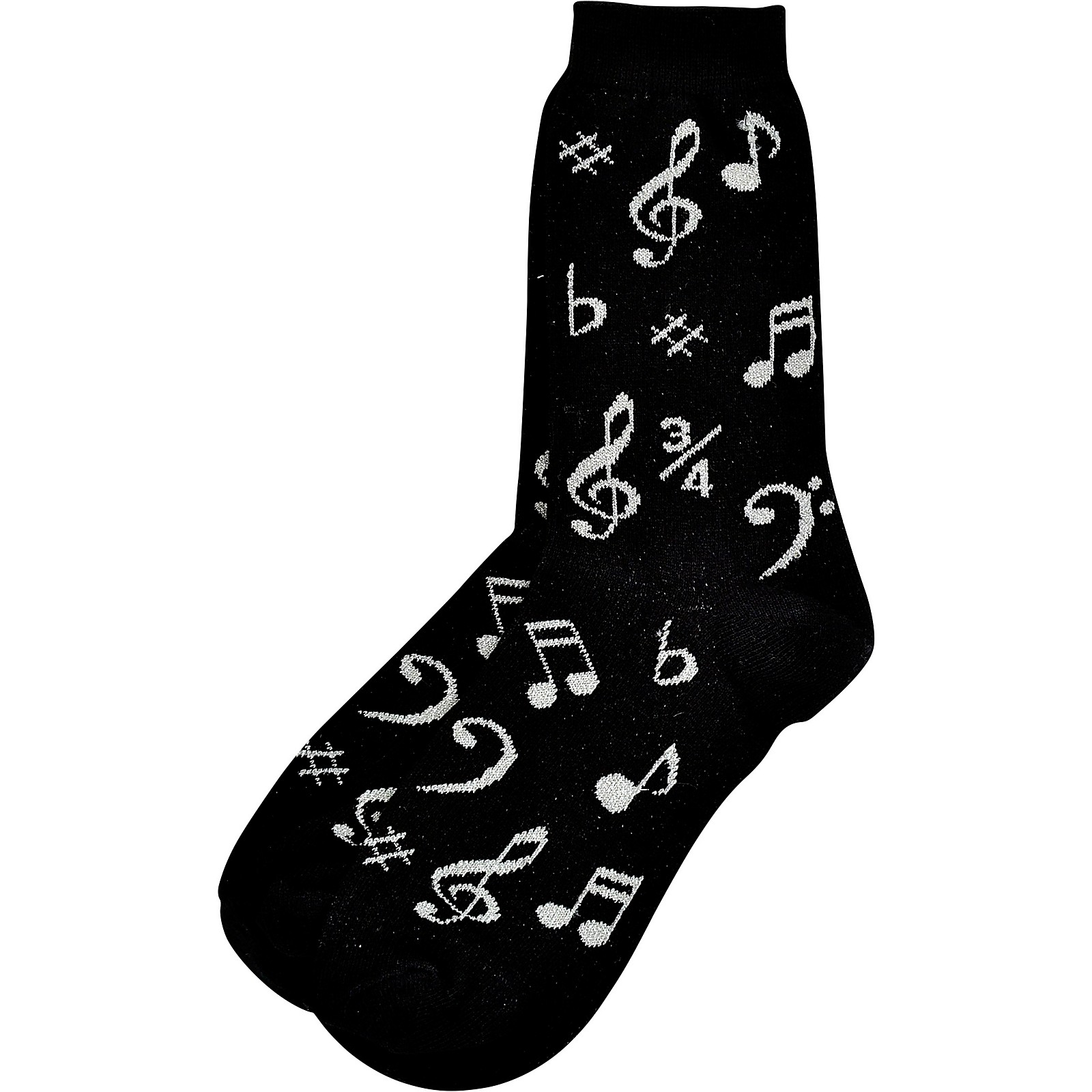 AIM Womens Black And Silver Music Note Socks