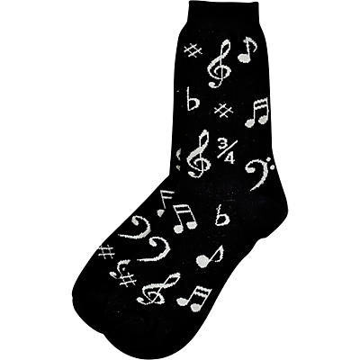 AIM Womens Black And Silver Music Note Socks
