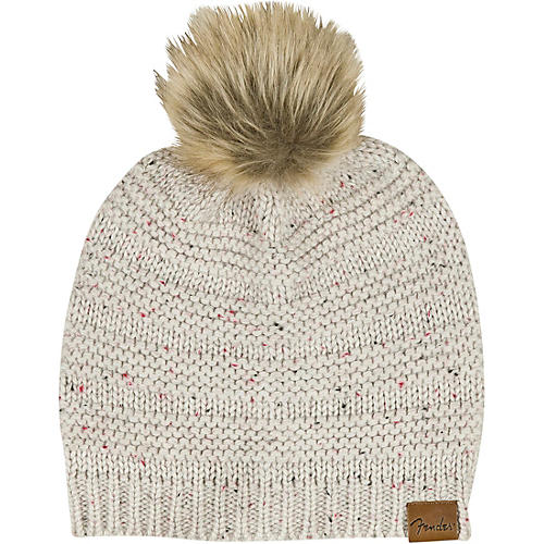 Fender Womens Leather Patch Pom Pom Beanie - Tan  a524ad57774