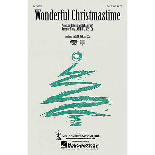 Hal Leonard Wonderful Christmastime SATB by Paul McCartney arranged by Alan Billingsley