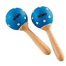 Wood Maracas Blue/White Polka Dots Small