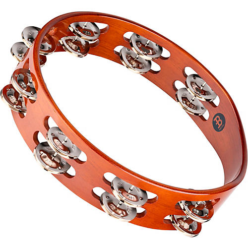 Meinl Wood Tambourine Two Rows Steel Jingles