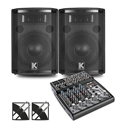 Behringer XENYX 802 Mixer and Kustom HiPAC Speakers