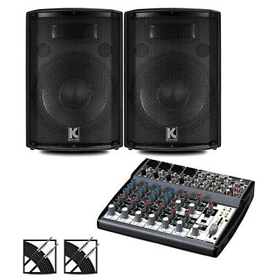 Behringer XENYX 802 Mixer and Kustom HiPAC Speakers