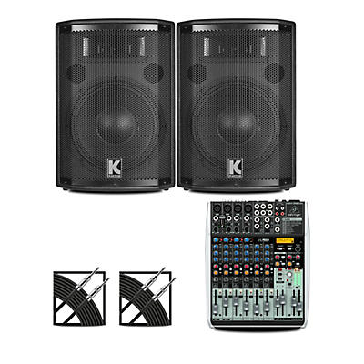 Behringer XENYX QX1204USB Mixer and Kustom HiPAC Speakers