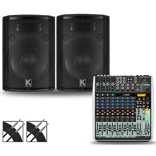 Behringer XENYX QX1622USB Mixer and Kustom HiPAC Speakers