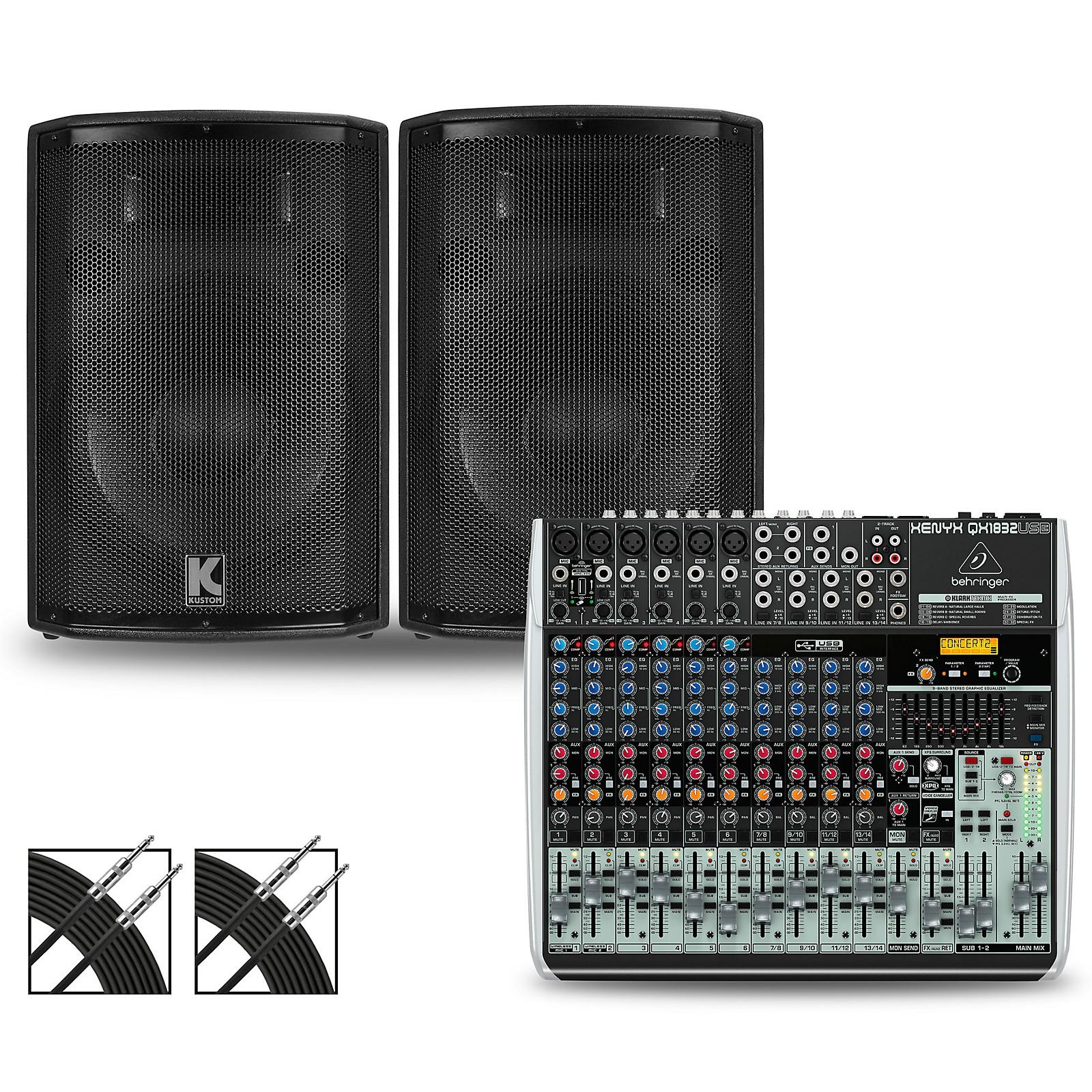 Behringer XENYX QX1832USB Mixer and Kustom HiPAC Speakers