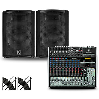 Behringer XENYX QX1832USB Mixer and Kustom HiPAC Speakers