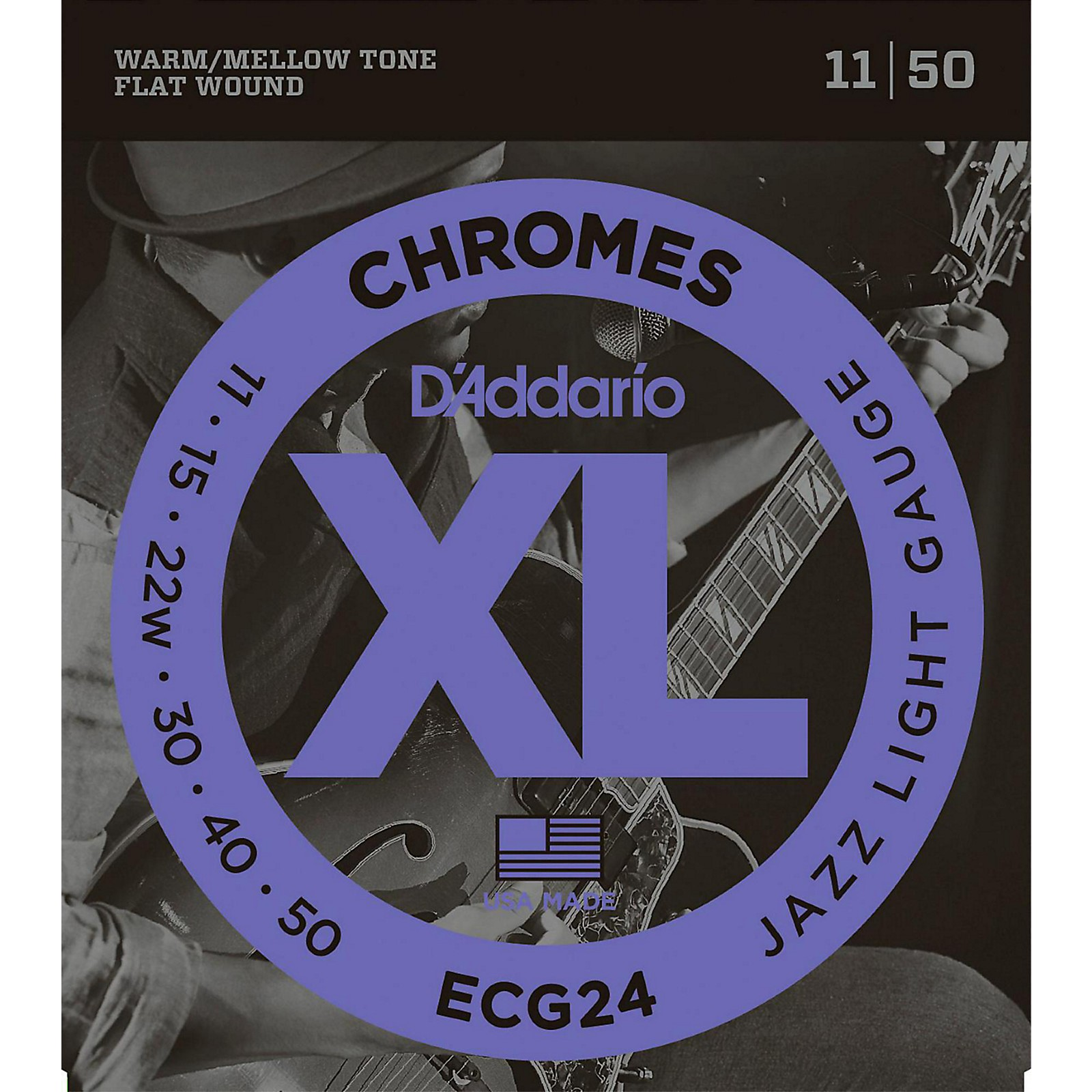 D'Addario XL Chromes Jazz Light Electric Guitar Strings ECG24 Flatwound