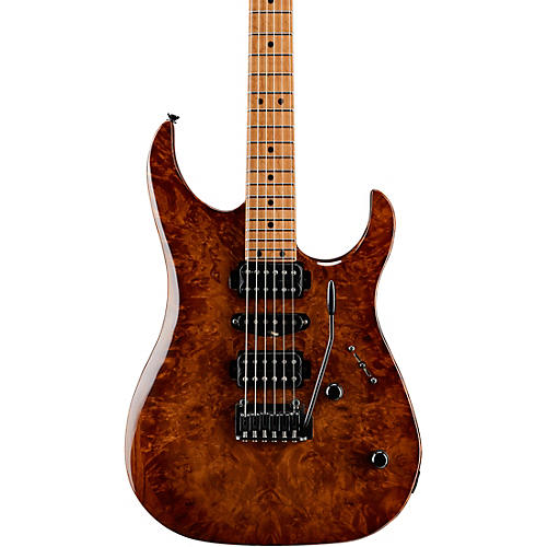 LsL Instruments XT4-DX 24 Fret Exotic HSH Roasted Burl Maple Top Electric Guitar Faded Iced Tea Burst