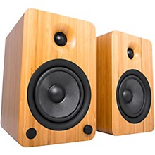 YU6 Powered Speakers with Bluetooth and Phono Preamp Bamboo
