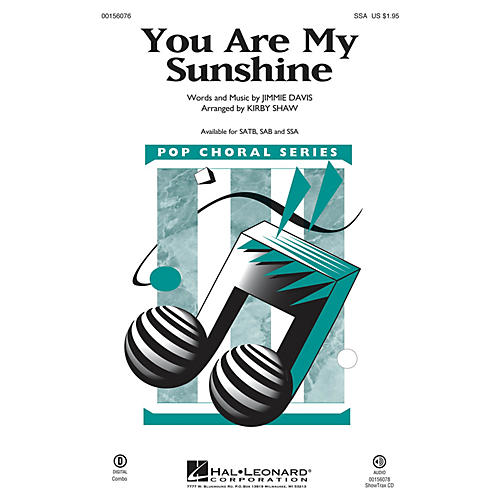 Hal Leonard You Are My Sunshine SSA arranged by Kirby Shaw