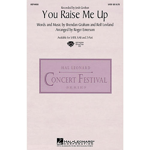 Hal Leonard You Raise Me Up SATB by Josh Groban arranged by Roger Emerson