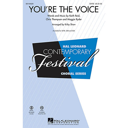 Hal Leonard You're the Voice SATB by John Farnham arranged by Kirby Shaw