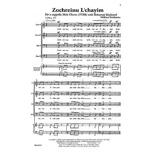 Transcontinental Music Zochreinu L'chayim TTBB composed by William Goldstein