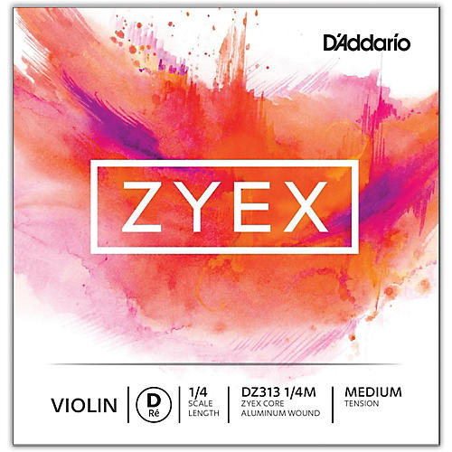 D'Addario Zyex Series Violin D String 1/4 Size