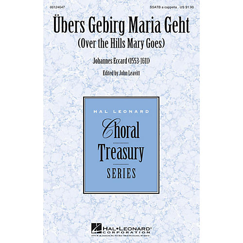 Hal Leonard Übers Gebirg Maria Geht (Over the Hills Mary Goes) SSATB A Cappella composed by Johannes Eccard