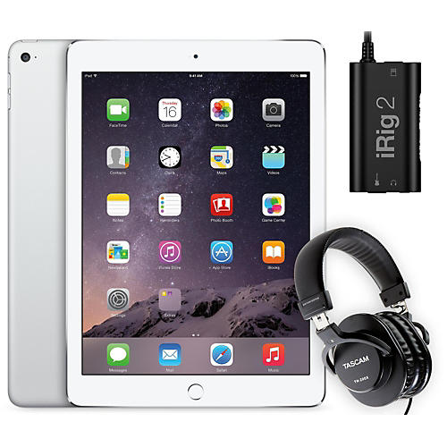 Apple iPad Air 2 128GB Silver with iRig 2 and TH-200X Headphones